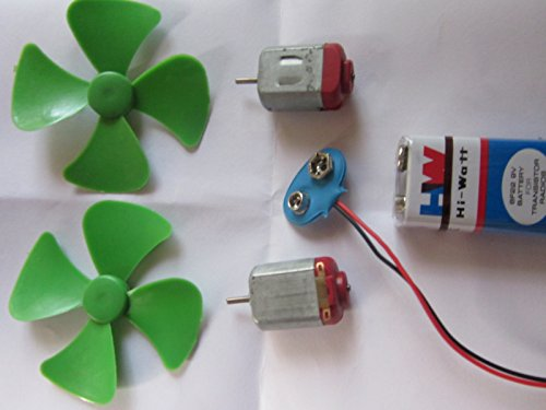 DC motors, battery and blades for toy